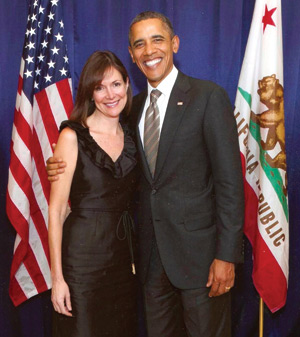 Denise Campbell Bauer '86 with President Obama