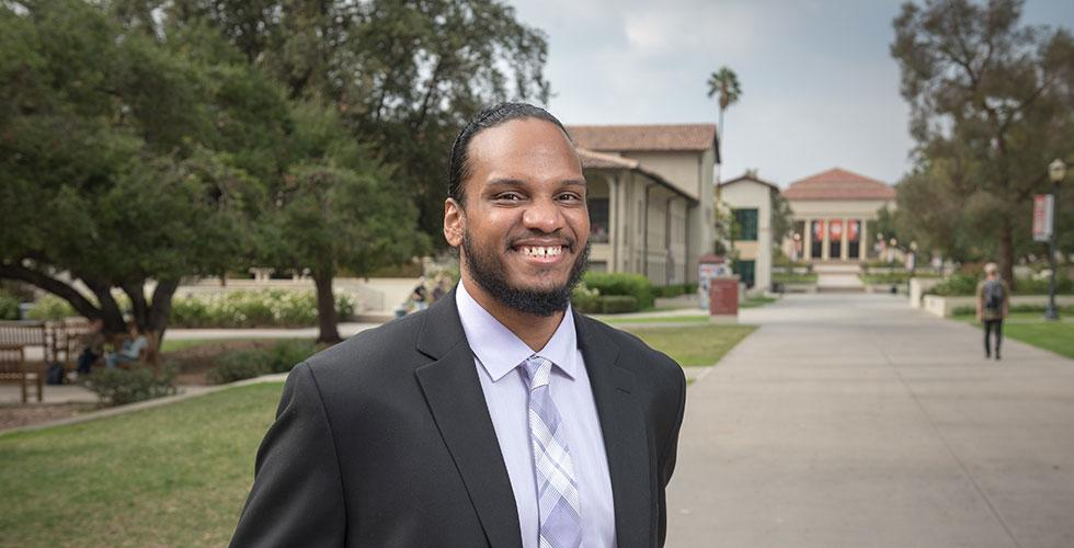 Army veteran and community college transfer Cameron Peters '18, an urban and environmental policy major from San Diego, was named the first Obama Scholars Fellow.
