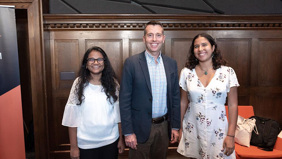 David Plouffe with Obama Scholars Sherin Aboobucker and Noa Richard