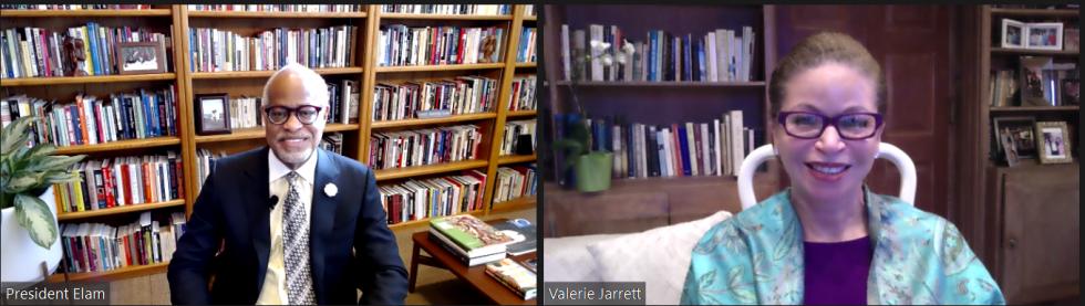Valerie Jarrett and Harry Elam, Jr.